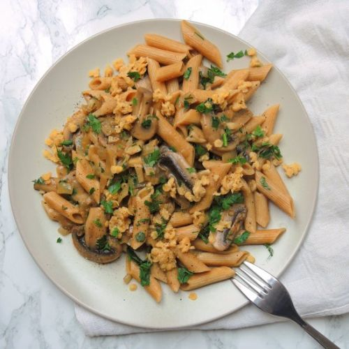Pasta with Mushrooms and Lentils
