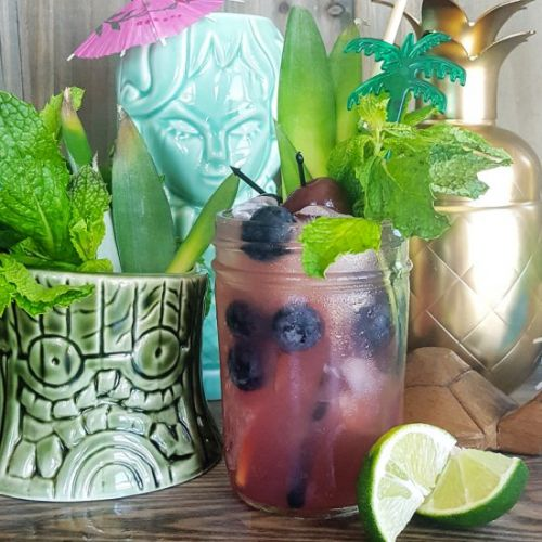 Blueberry Rum Tiki Cocktail