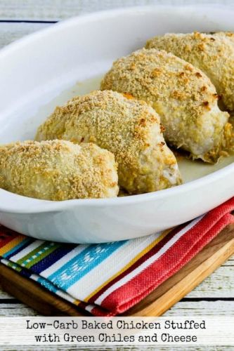 Low-Carb Baked Chicken Stuffed with Green Chiles and Cheese