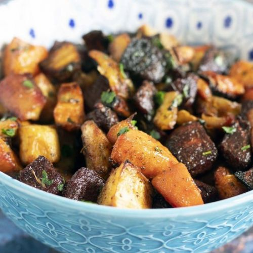 Rainbow roasted root vegetables