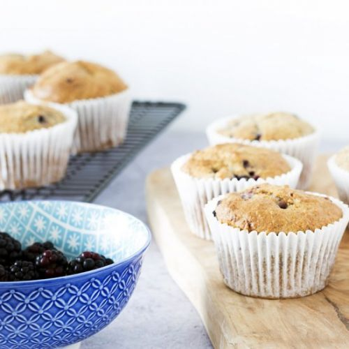 Wholemeal blackberry muffins