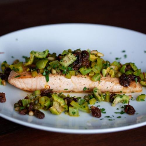 Grilled Salmon with Olives & Pine