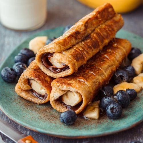Nutella banana french toast roll up