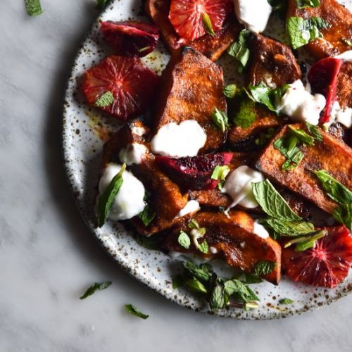 Roasted pumpkin blood orange salad