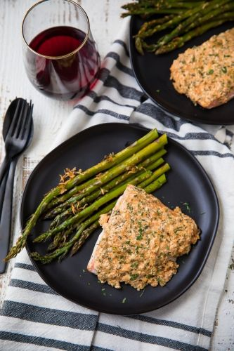 One-Pan Parmesan and Garlic Salmon and Asparagus