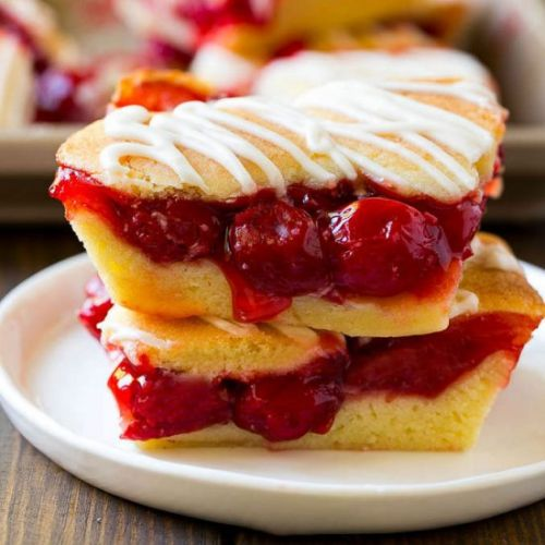 Cherry Bars with Vanilla Glaze