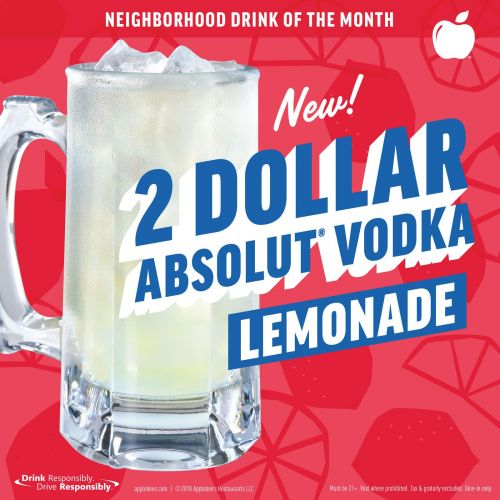 Applebee's Makes March Sweeter with the New 2 DOLLAR ABSOLUT Vodka Lemonade