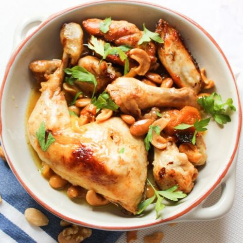 Chicken with Honey, Apricots Cashew