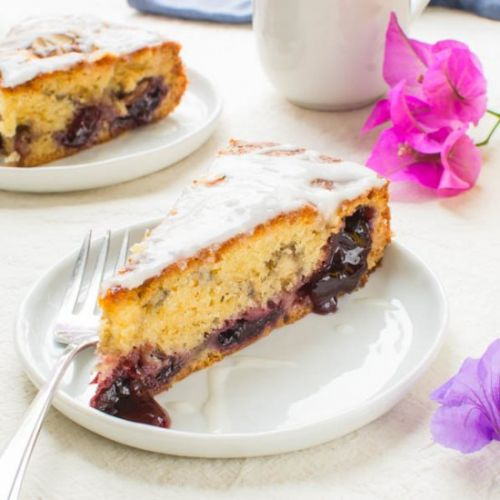 Glazed Cherry Almond Coffee Cake