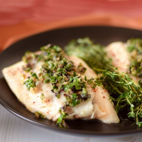 Slow Roasted Cod with Pesto