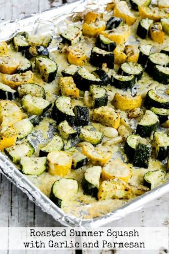 Roasted Summer Squash with Garlic and Parmesan