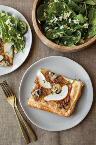 Pear, Blue Cheese and Onion Tart with Spinach Salad