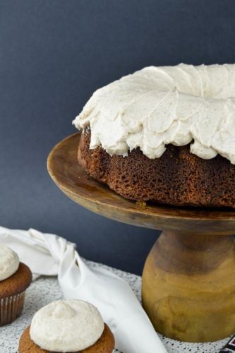Gingerbread Bundt Cake Recipe with Cinnamon Cream Cheese Frosting