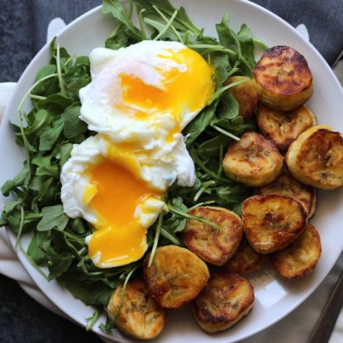 Eggs with Arugula & Plantains
