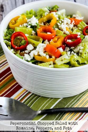 Peperoncini Chopped Salad with Romaine, Peppers, and Feta