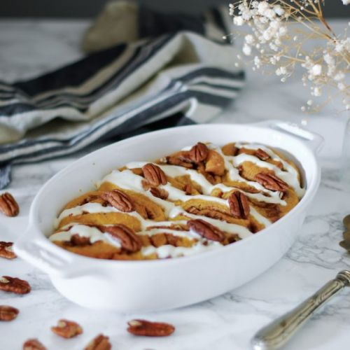 Sweet potato pecan cinnamon rolls