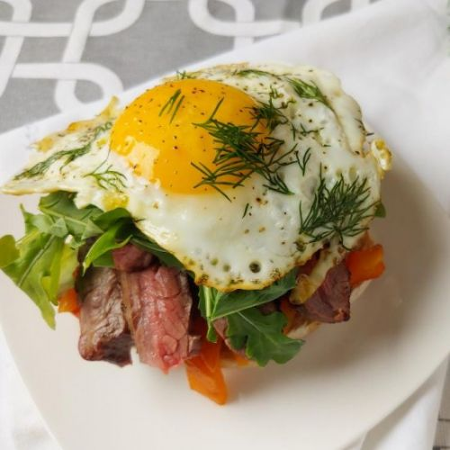Steak Benedict with Pepper Relish