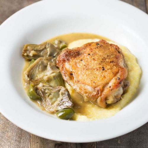 Braised Chicken Thighs & Artichokes