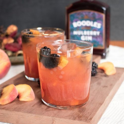 Peach Punch with mulberry gin