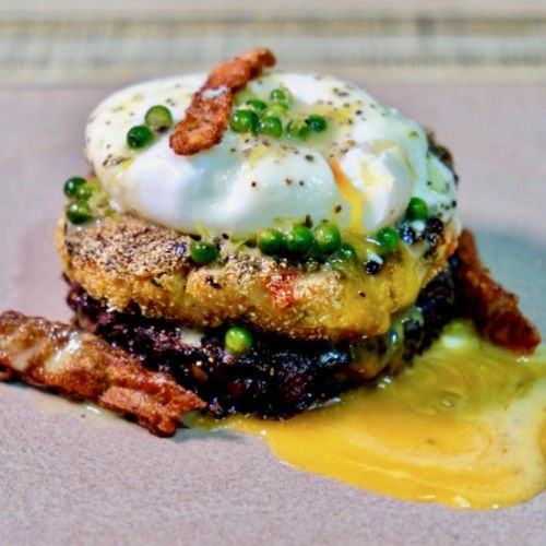 Black rice cake. Salmon cake. Egg