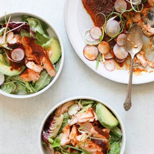 BBQ Salmon Salad with Avocado Ranch