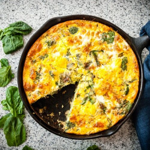 Broccoli Spinach Cheddar Frittata