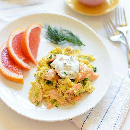 Dill Salmon and Eggs Scramble