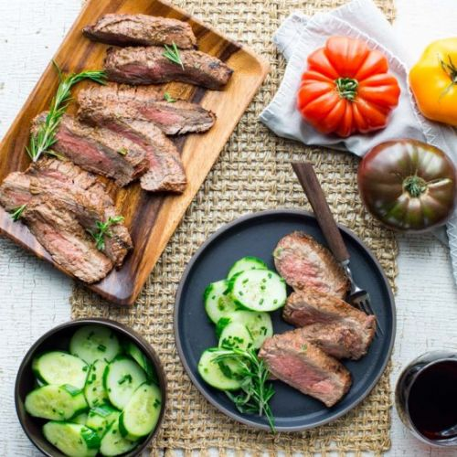 Grilled tomato herb flank steak