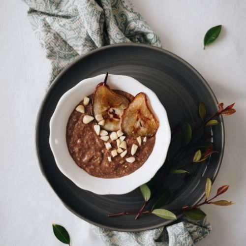 Cocoa Porridge with Fried Pears