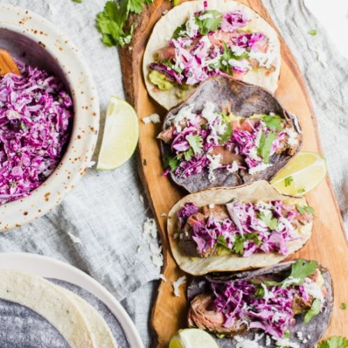Steak Tacos with Lime Cilantro Slaw