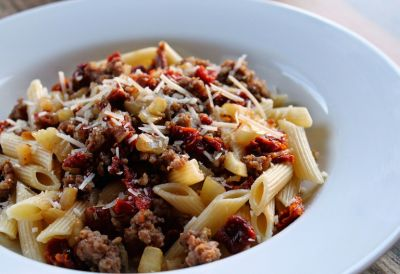 Finocchietto: Penne Pasta with Fennel, Sausage, and Sun-Dried Tomatoes