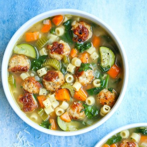 Summer Minestrone with Meatballs