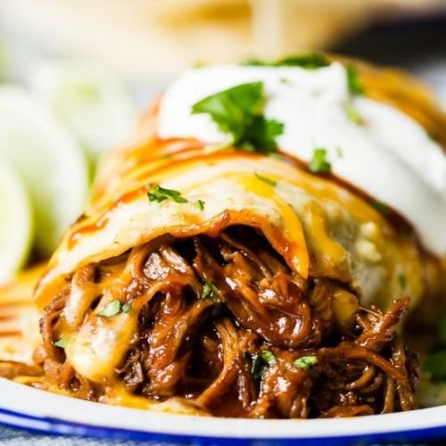 SMOTHERED BBQ BEEF BURRITOS