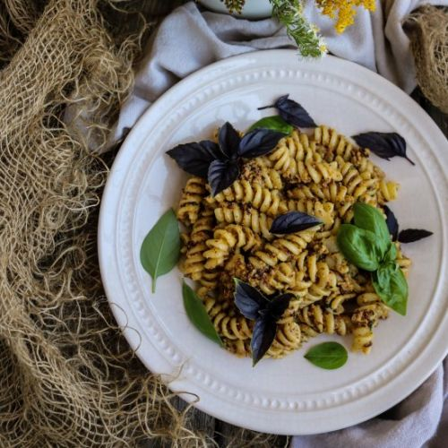 Chanterelle Walnut Pesto Pasta