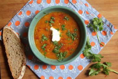 Spicy and Sour Tomato Lentil Soup