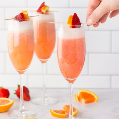 Orange Strawberry Mimosas