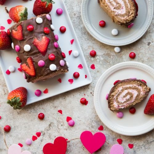 Strawberry Chocolate Swiss Roll
