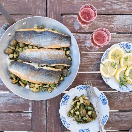 Sea-bass with zucchini and olives