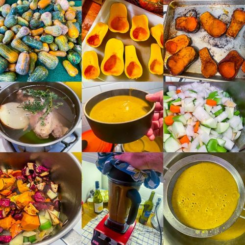 Roasted Honeynut Squash Soup with Apples, Ginger, and Yellow Miso