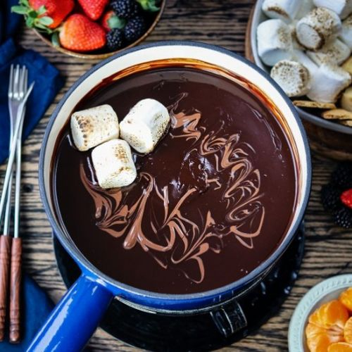 Dark chocolate fondue bar