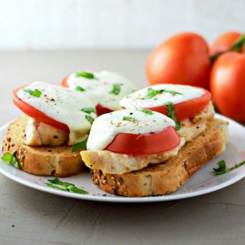 Open-face Chicken Caprese Sandwich