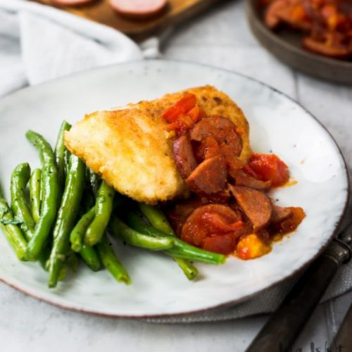 Panko cod with green beans