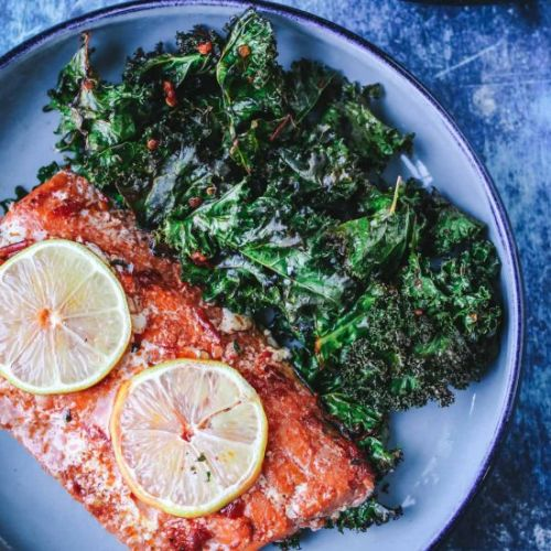 Harissa Salmon with Kale