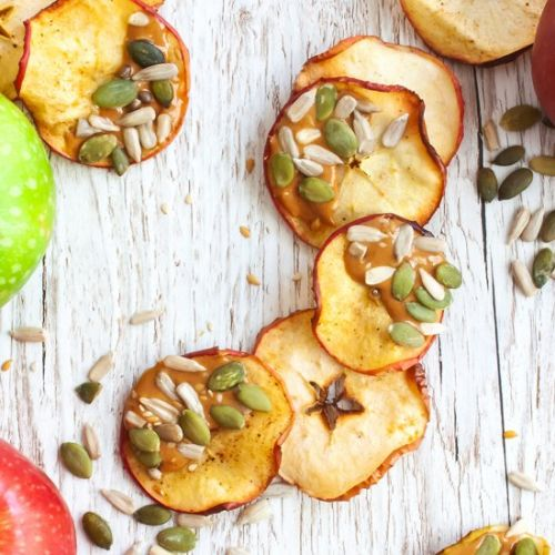 Apple Chips with Cashew and Seeds