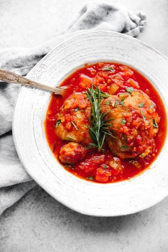 Pollo in Potacchio (Braised Chicken with Tomatoes and Rosemary)