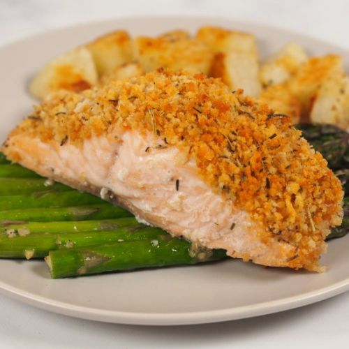 Herb Cursted Baked Salmon Fillet