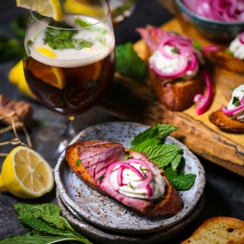 Lamb Crostini + Bourbon Beer Cocktal