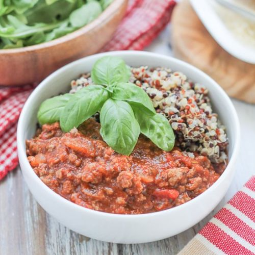 Quinoa with Bolognese Sauce