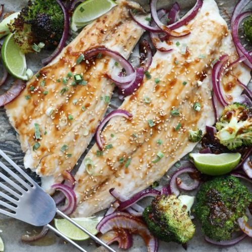 Sheet Pan Teriyaki Striped Bass