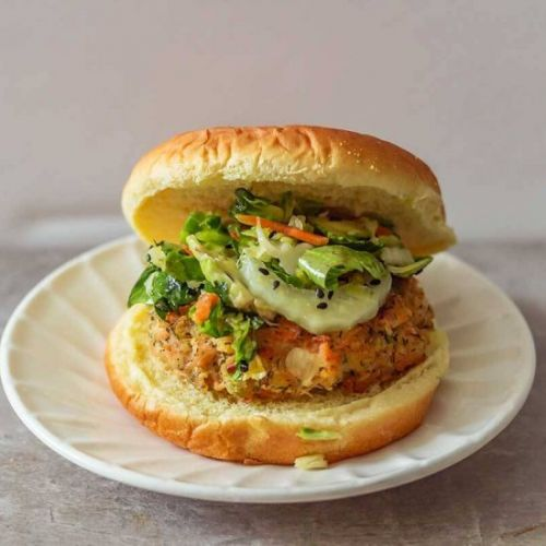 Mexican Salmon Burger With Slaw